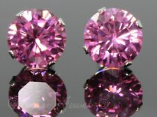 8mm REAL SOLID 925 STERLING SILVER Round Baby Pink CZ Stud Ladies Girls Earrings