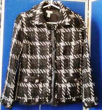 EUC CHICO'S Lined JACKET w. faux Leather & FRINGE trim BROWNS & White Plaid Sz 0
