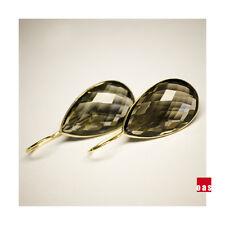 """ NEW ""  Large Smoky Quartz Fine Vermeil Earrings"
