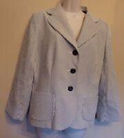 Hobbs UK14 EU42 US10 black/white striped lined blazer/jacket with 3/4 sleeves