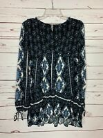 Free People Women's XS Extra Small Black Blue Long Sleeve Cute Tunic Top Blouse