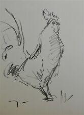 JOSE TRUJILLO Original Charcoal - Paper Sketch Drawing 9X12 Chicken Rooster Art