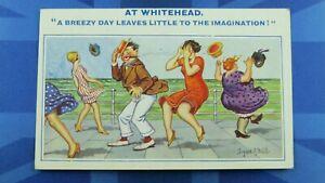 WHITEHEAD Saucy Donald McGill Comic Postcard 1930's Silk Stockings A BREEZY DAY