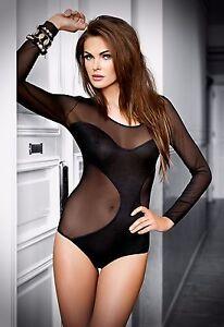Eleganter langarm Body aus feinem Tüll - Lingerie-Unterwäsche-Dessous