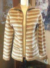 Vtg Madison Studio Tan white striped full 2 way zip lambswool angora cardigan M