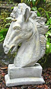 ❀ Pferdekopf Büste Zement 26 cm Kopf Statue Pferd Antik Garten Figur #GW