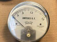 Vintage Triplett RF Amperes Meter Model 341-PL Measures 0-1.5 Amps Panel Gauge