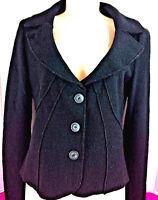 United Color Of Benetton Women's Wool Cropped Winter Blazer Jacket Size 42 Black