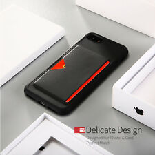 Shockproof TPU Back Case Cover With Card Slot Holder For iPhone X 8 7 6s Plus 5s