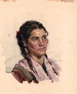 PORTRAIT WOMEN ORIGINAL WATERCOLOR PAINTING ART BY ARTIST