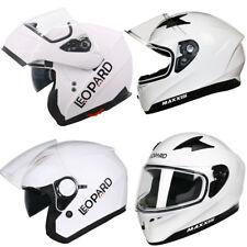 LEOPARD Flip Up Front Full Open Face Helmet Motorbike Motorcycle White
