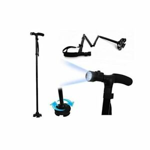 Foldable Adjustable Walking Aid Cane With Built in 6 Led Torch Light Lamp