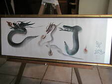 Awesome Dragons Vs Serpents 1930s-Japanese watercolor painting in Vintge frame!!