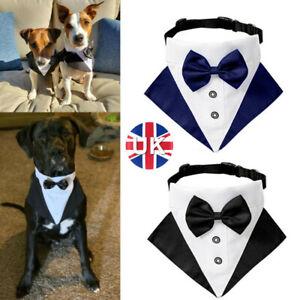 Pet Dog Tuxedo Suit and Bandana Set Wedding Party Formal Bow Tie Neck Collar UK