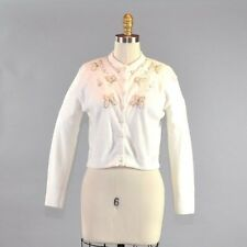 Vtg Women's White Cardigan Butterfly Floral Beaded Pearl Silver Long Sleeve Sz M