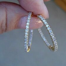 2Ct Round Cut VVS1/D Diamond Huggie Hoop Earrings Solid 14K Yellow Gold Finish