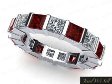 2.75Ct Princess Ruby Diamond Bar Set Wedding Eternity Band Ring 18k AAAA F VS2