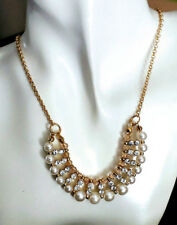 Pearl Necklace Rhinestones & Gold Beads Statement Jewelry Choker Classic