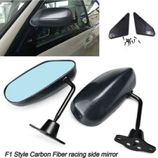 Pair Car F1 Style Classical Carbon Fiber Look Side Mirrors Wide Angle Universal