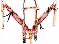 PINK BUCK STITCH WESTERN LEATHER BRIDLE HEADSTALL BREAST COLLAR HORSE TACK SET