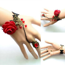 Women Lovely Hot Goth Lolita Retro Tassels Roses Ring Lace Bracelet New