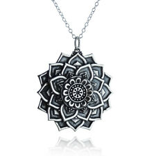 Lotus Flower Mandala Necklace 925 Sterling Silver Symmetrical Pendant Petals NEW