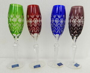 New Crystal Legends Godinger Hungary Champagne Flutes Glasses Colored Cut Clear