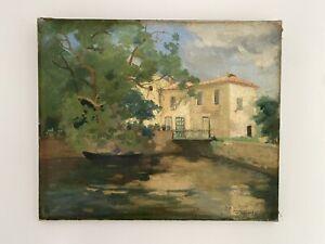 Tableau Impressionniste Ancien Huile Paysage Maison Pont Pêcheur XIXe Signé
