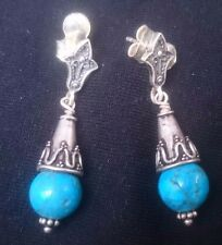 Vintage Sterling Silver and Turquoise Drop Dangle Earrings