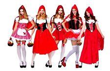 Ladies LITTLE RED RIDING HOOD Fancy Dress Story Fairy tale Costumes UK Size 6-28