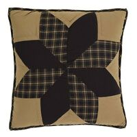 "DAKOTA STAR Quilted Pillow Black/Khaki Country Primitive Rustic 16"" x 16"""