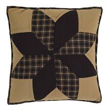 "DAKOTA STAR Quilted Pillow Black/Khaki Country Primitive Rustic 16"" x 16"""