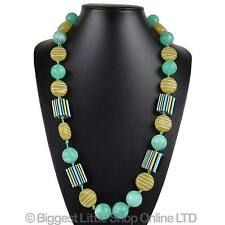 NEW Ladies Chunky Statement Green Long NECKLACE Stylish Holiday Classic Sweeties