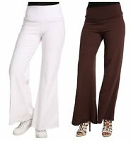 Sweet Vibes Junior Womens Gaucho Pants High Waist Stretch Jersey Knit Wide Leg