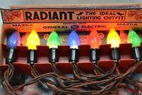 Vintage G E Mazda Radiant Christmas Lights With Box Swirl Flame Bulbs Working