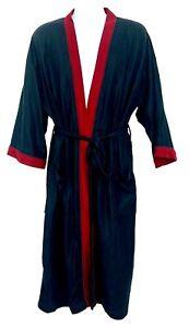 Vintage Hanes Classics Men Robe Fleece Black Red Tim Dressing Robe Tie Waist OS