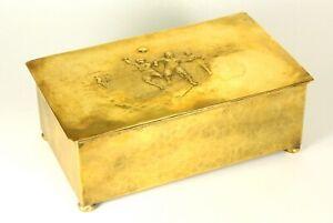^ X-RARE c.1909-10 WMF Brass & Wood Box - German FOOTBALL Soccer National Team