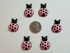 6 Pcs Lot pink lady bug Flatback Resin Cabochon Hair Bow Center Supply.