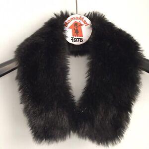 Dennis Basso Black Faux Fur Coat Collar Attachment Shawl Neck Warmer Scarf Wrap