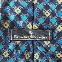 Ermenegildo Zegna Mens Neck Tie Blue Yellow Diamonds Italy 100% Silk