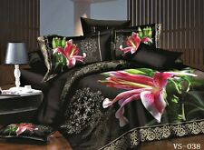 Double Size FLORAL BLACK PINK LILY  3d duvet bedding set LIMITED EDITION...,