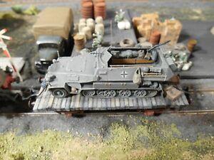 HO Roco Minitanks 7th Panzer Railway Car Half Track Hand Painted #A1220
