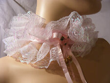 SISSY ADULT BABY PINK LACE COLLAR CHOKER LOLITA FANCY DRESS OPTIONAL BELLS