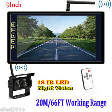"""Wireless Night Vision Rear View Waterproof Backup Camera+9"""" Monitor for RV Truck"""