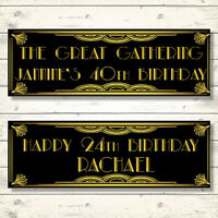 2 PERSONALISED GATSBY BIRTHDAY BANNERS - ANY NAME/AGE - THE GREAT GATSBY