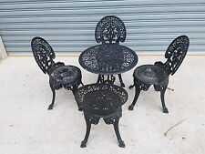 Vintage Cast Iron 5 piece Patio Garden Setting Table and 4 Chairs very heavy