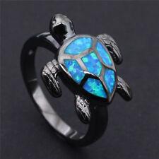 Fashion Ocean Blue Fire Opal Turtle Black gold fill Ring Men Womens Band size 6