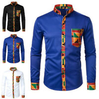 NEW Men's African Print Long Sleeve Dashiki Shirt Collar Tops Blouse Party Shirt