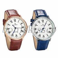 Men's Women's Classic Leather Band Roman Numerals Dial Analog Quartz Wrist Watch