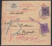 32845) Jugoslawien VINKOVCI 1929 Paketkarte nach Zagreb